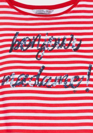 T-shirt c/ risca vermelha para menina da Tiffosi