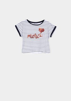 T-shirt c/ risca azul para menina da Tiffosi