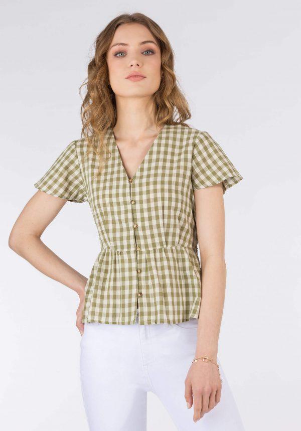 Blusa xadrez verde c/ laço para mulher da Tiffosi