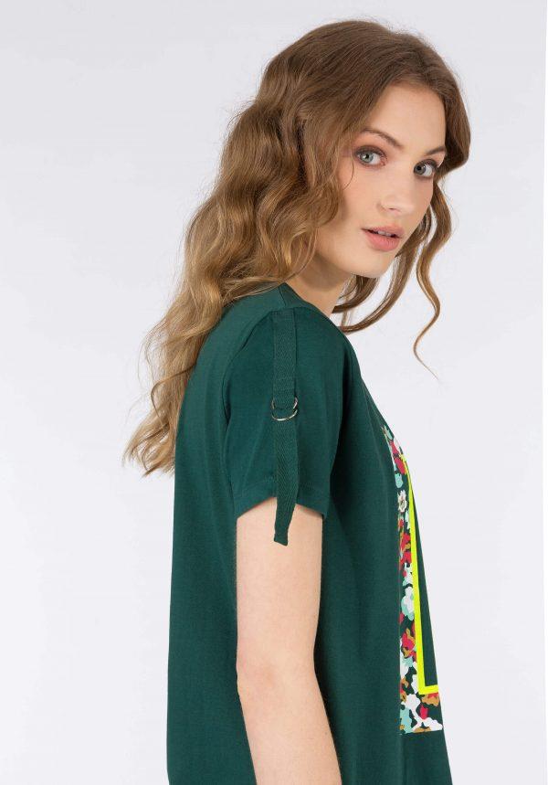 T-shirt verde c/ fivela na manga para mulher da Tiffosi