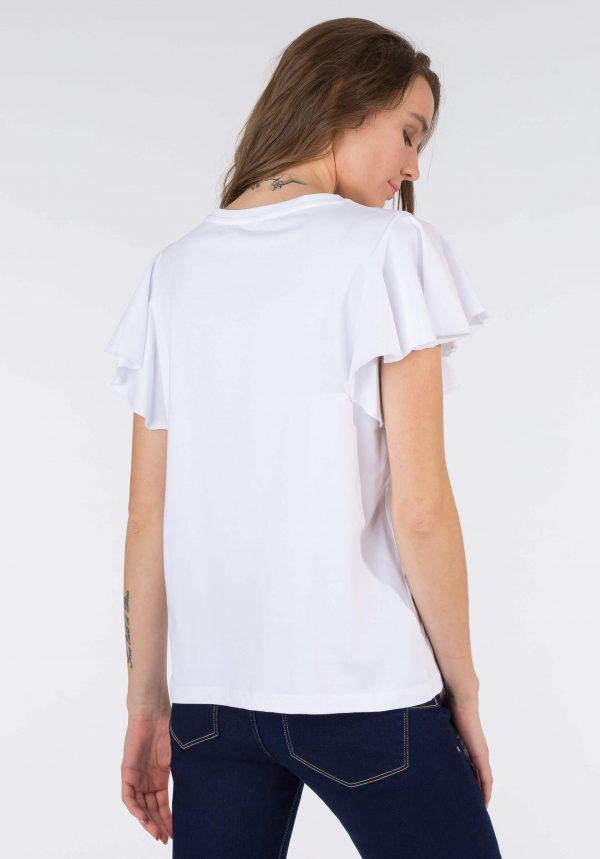 T-shirt banca c/ flores bordadas para mulher da Tiffosi