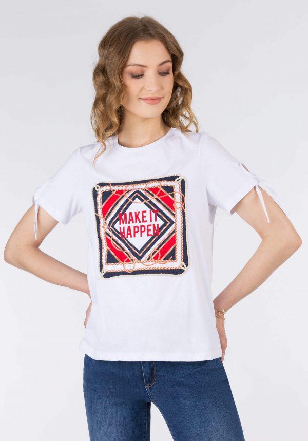 T-shirt branca c/ estampado para mulher da Tiffosi