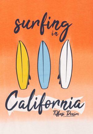 T-shirt surf laranja para menino da Tiffosi