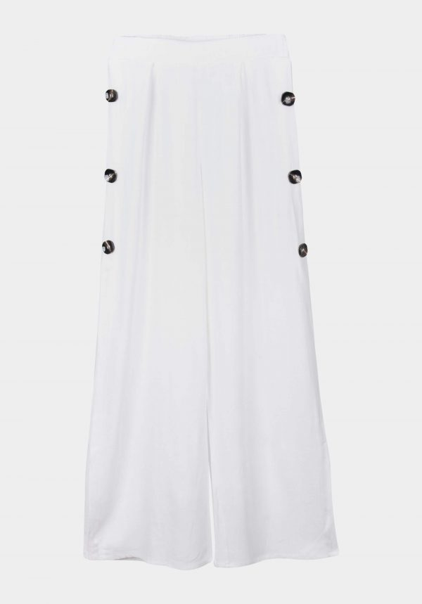 Calça branca c/ botões para mulher da Tiffosi