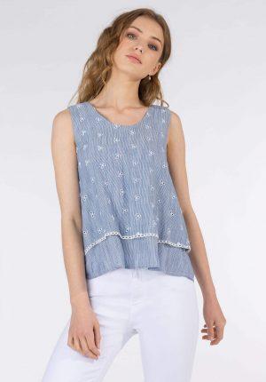 Tope azul c/ bordado inglês para mulher da Tiffosi