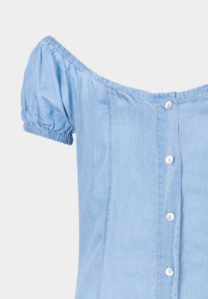 Vestido de ganga c/ ombro descoberto para mulher da Tiffosi