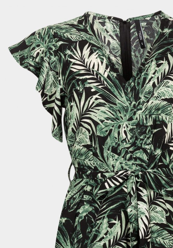 Jumpsuit verde c/ print folhas para mulher da Tiffosi