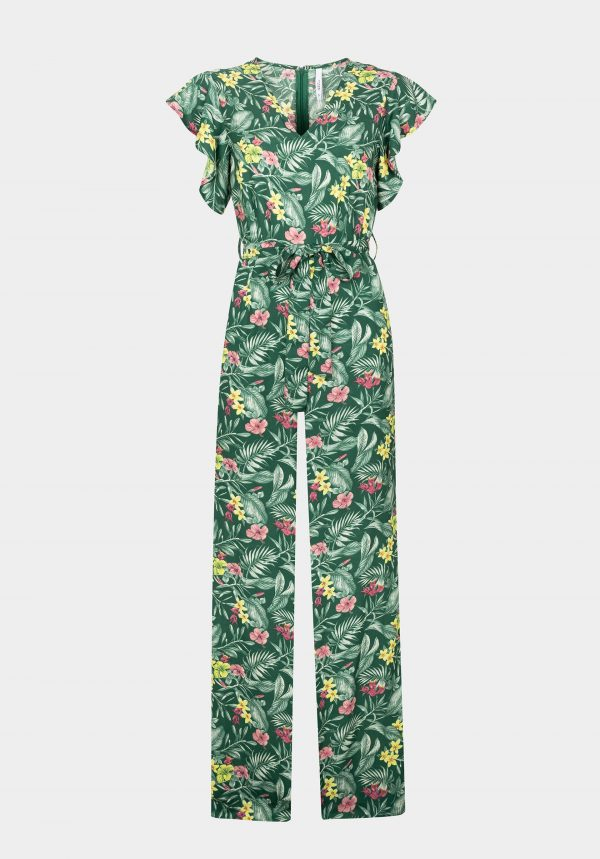 Jumpsuit verde c/ print floral para mulher da Tiffosi