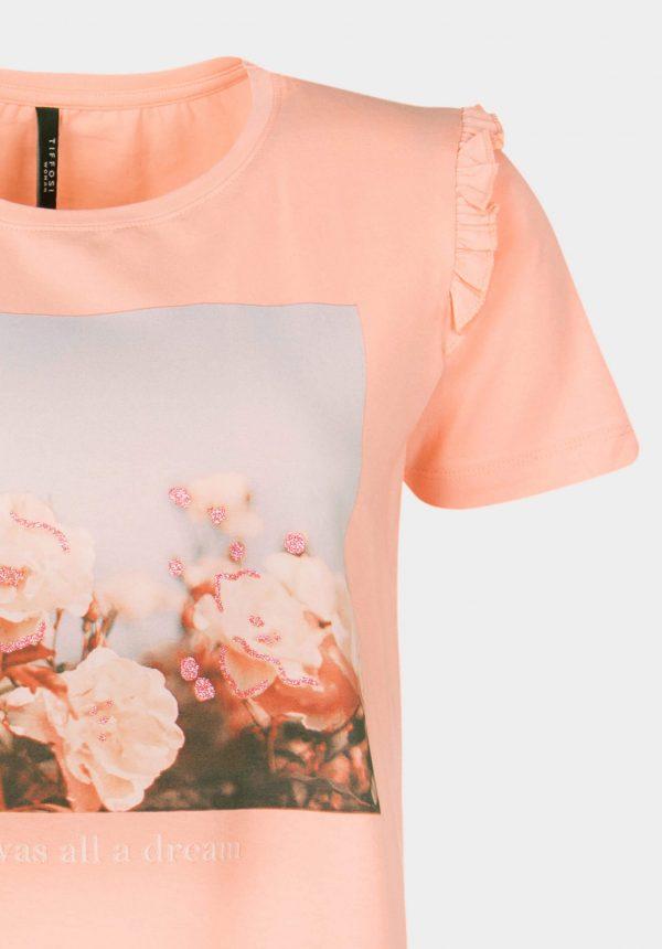 T-shirt salmão c/ folho para mulher da Tiffosi