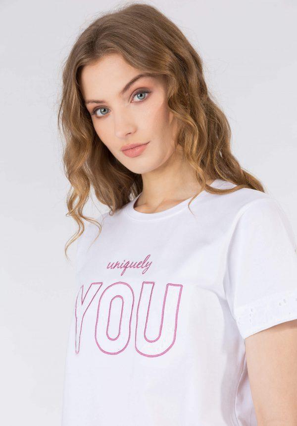 T-shirt branca you para mulher da Tiffosi