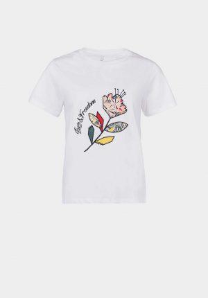 T-shirt branca c/ flor para mulher da Tiffosi