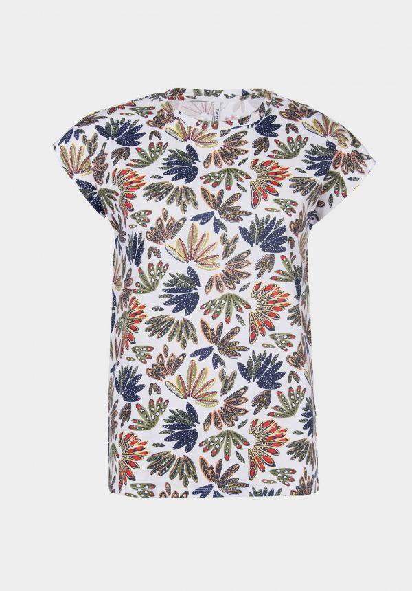 T-shirt com print folhas para mulher da Tiffosi