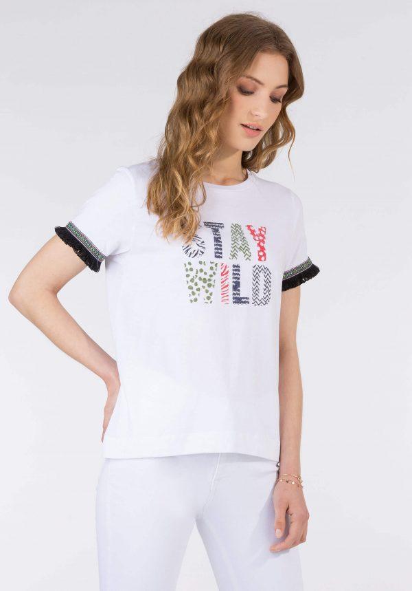 T-shirt branca c/ franjas para mulher da Tiffosi