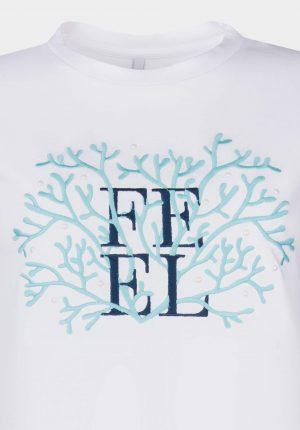 T-shirt branca c/ coral para mulher da Tiffosi