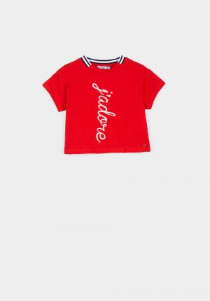T-shirt vermelha c/ bordado para menina da Tiffosi