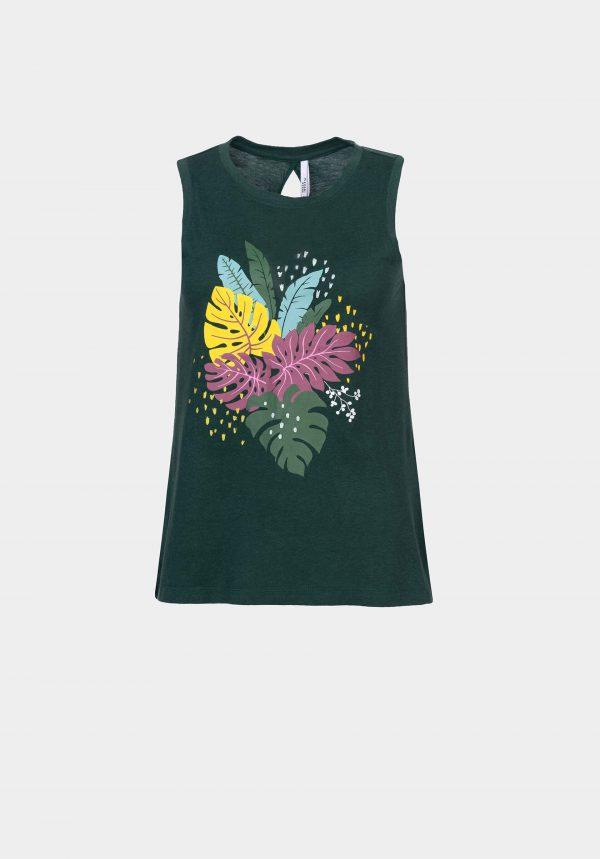 T-shirt verde c/ folhas para mulher da Tiffosi