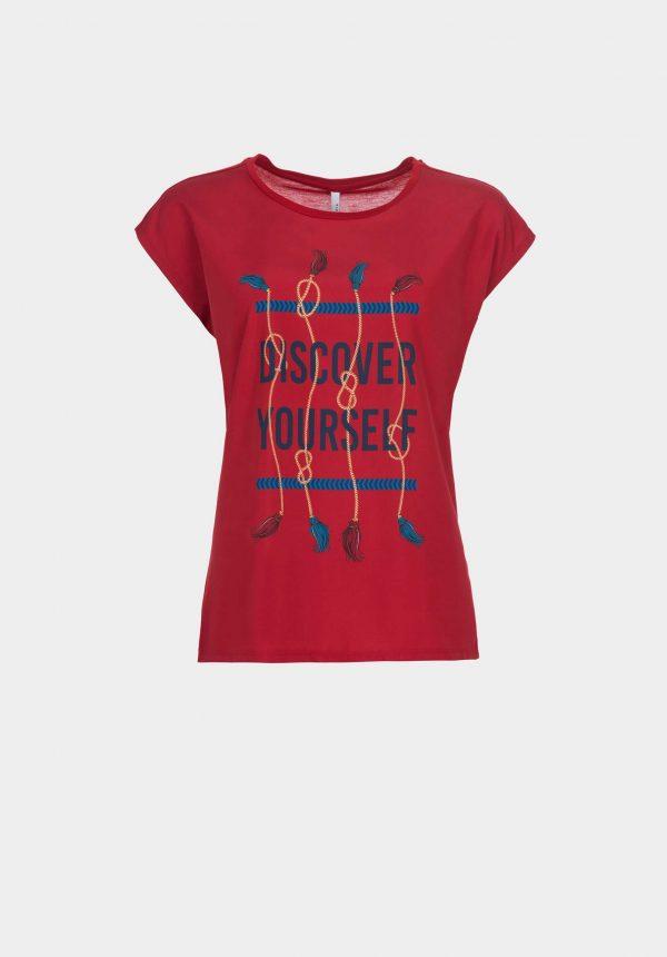 T-shirt vermelha c/ estampa na frente para mulher da Tiffosi