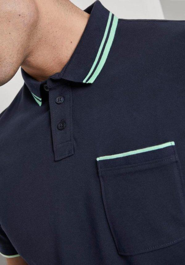 Polo azul c/ pormenor verde para homem da Tom Tailor