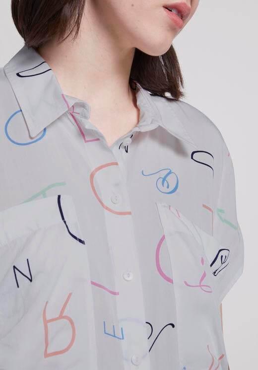 Camisa branca c/ letras para mulher da Tom Tailor
