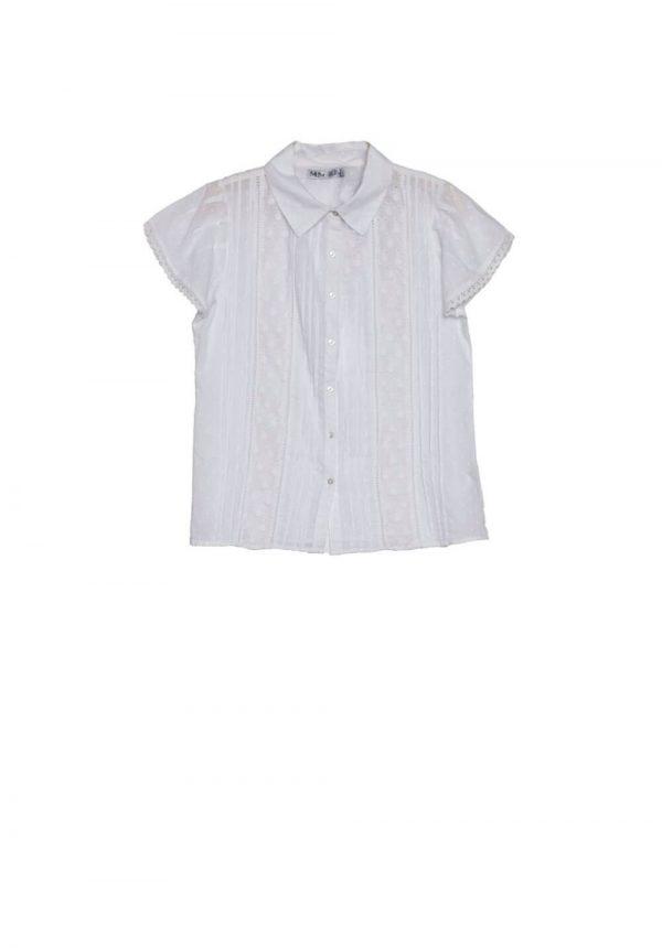 Camisa branca c/ bordado inglês para mulher da Md`m