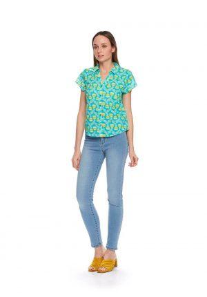Camisa manga curta print floral para mulher da Md`m