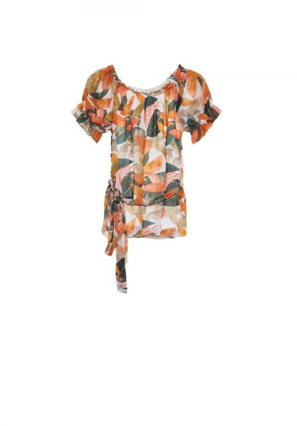 Túnica print folhas laranja para mulher da Md`m