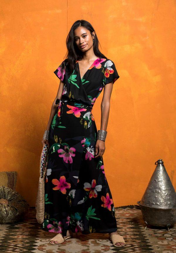 Vestido comprido traçado print floral para mulher da Md`m