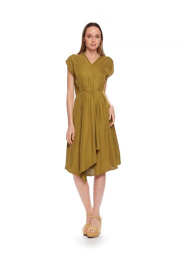 Vestido verde com pregas para mulher da Md`m