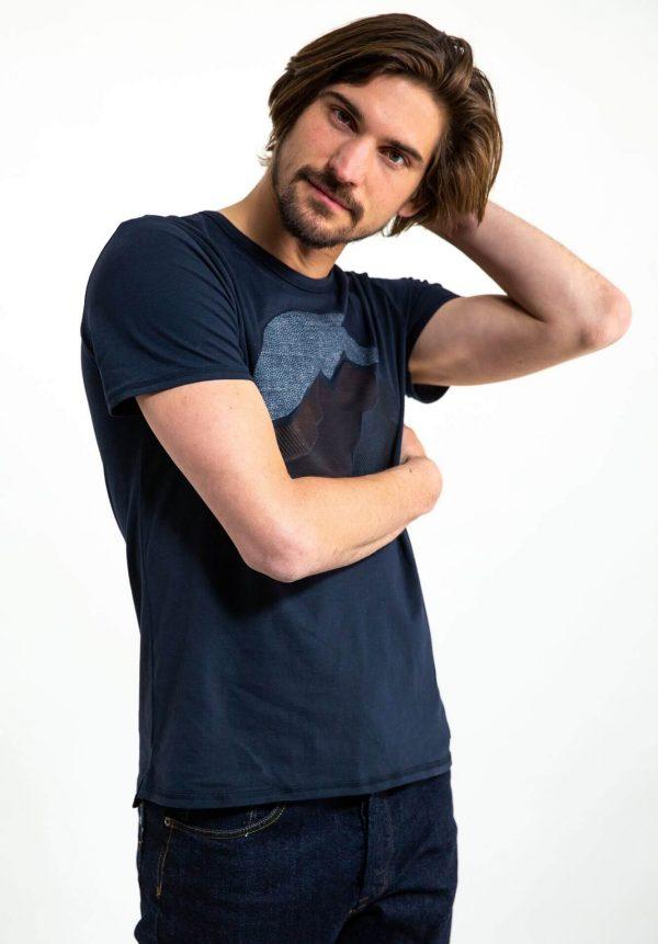 T-shirt azul com estampa para homem da Garcia Jeans