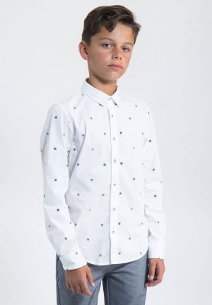 Camisa branca c/ bolas para menino da Garcia Jeans