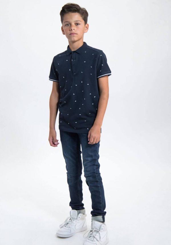 Polo azul c/ estampa pequena para menino da Garcia Jeans