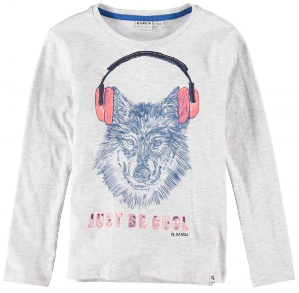 T-shirt cinza c/ print wolf da Garcia Jeans