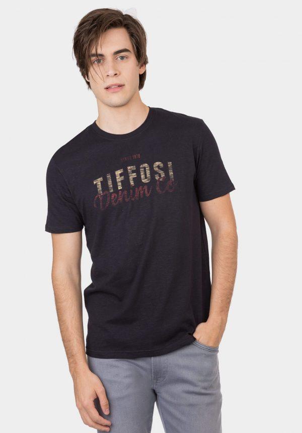 T-shirt azul marino c/ logo para homem da Tiffosi