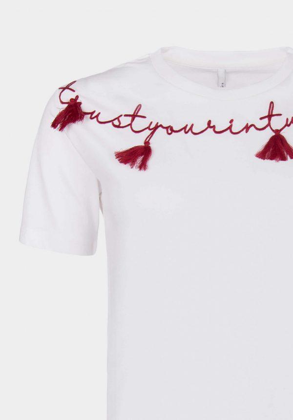 T-shirt branco c/ aplicações para mulher da Tiffosi