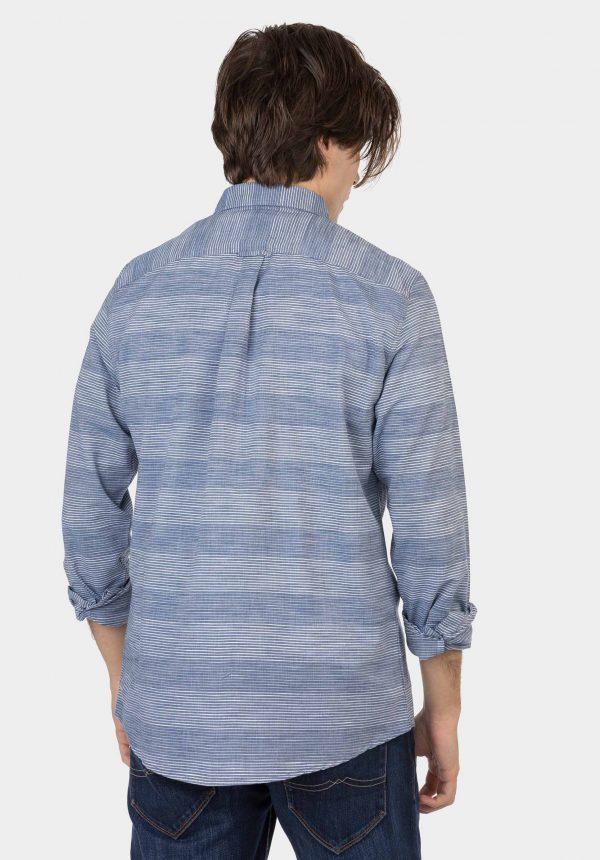 Camisa azul c/ risca e bolso para homem da Tiffosi