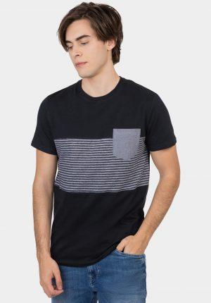 T-shirt azul marino listada para homem da Tiffosi
