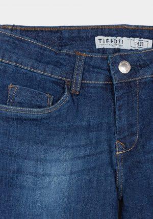 Calção ganga média c/ esbatidos para menina da Tiffosi