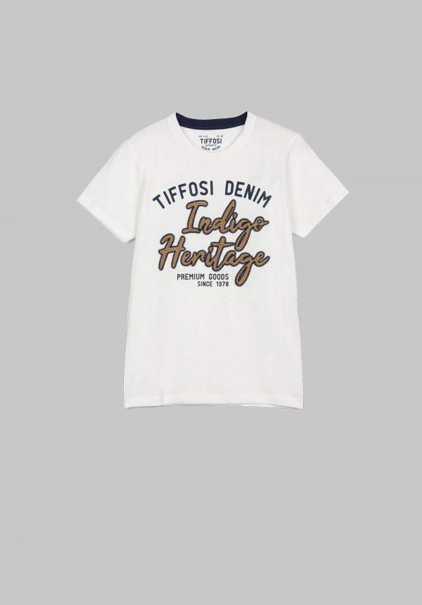 T-shirt branca c/ bordados para menino da Tiffosi