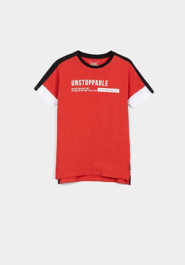 T-shirt vermelha c/ aplicações para menino da Tiffosi