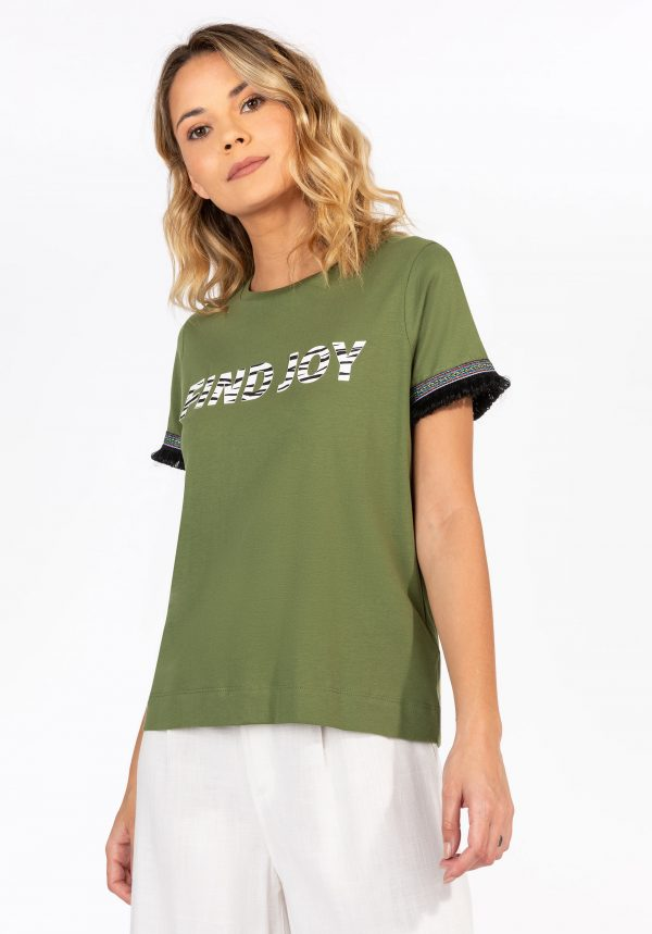 T-shirt kaki c/ franjas para mulher da Tiffosi