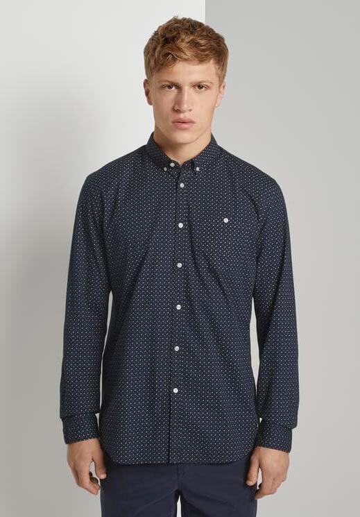 Camisa azul escura c/ bolso para homem da Tom Tailor