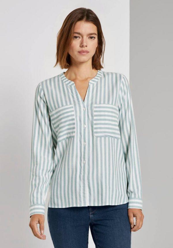 Camisa de risca azul claro s/ gola para mulher da Tom Tailor