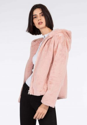 Casaco rosa de pelo c/ capuz para mulher da Tiffosi