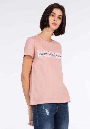 T-shirt rosa c/ relevo para mulher da Tiffosi