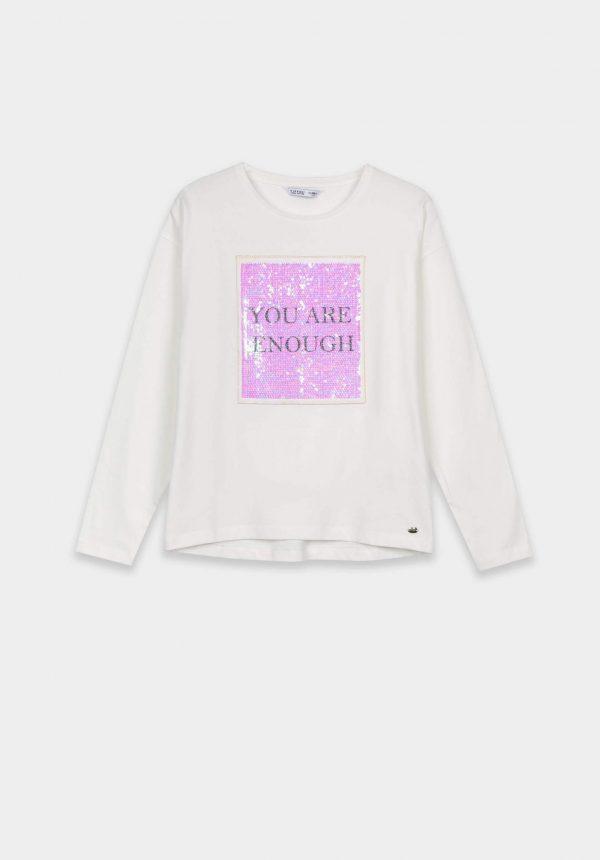 T-shirt branca c/ lantejoulas para girl da Tiffosi