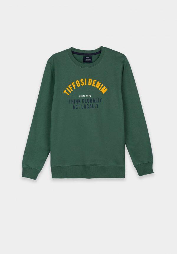 Sweat verde c/ letras amarelas para boy da Tiffosi