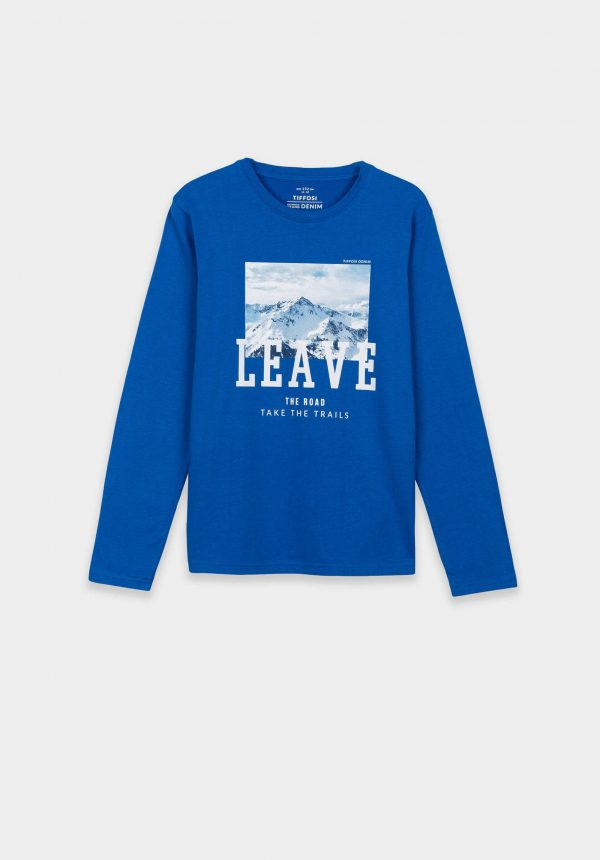 T-shirt azul porto para boy da Tiffosi