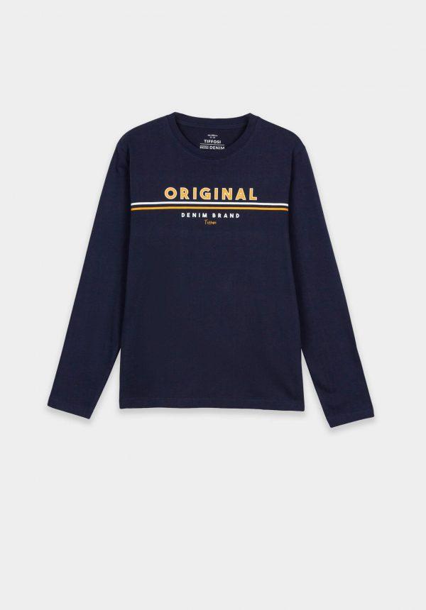 T-shirt azul marino c/ letras amarelas para menino da Tiffosi