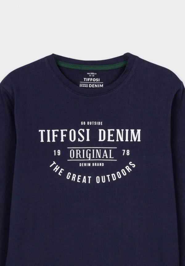 T-shirt azul marino c/ inscrições para menino da Tiffosi
