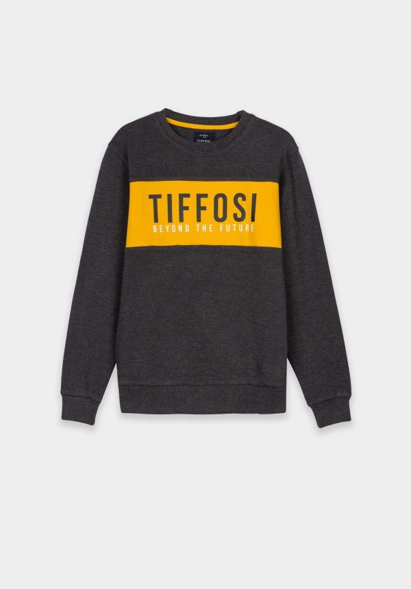 Sweat cinza c/ barra amarela para menino da Tiffosi
